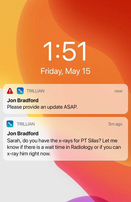 critical notification on an iphone screen